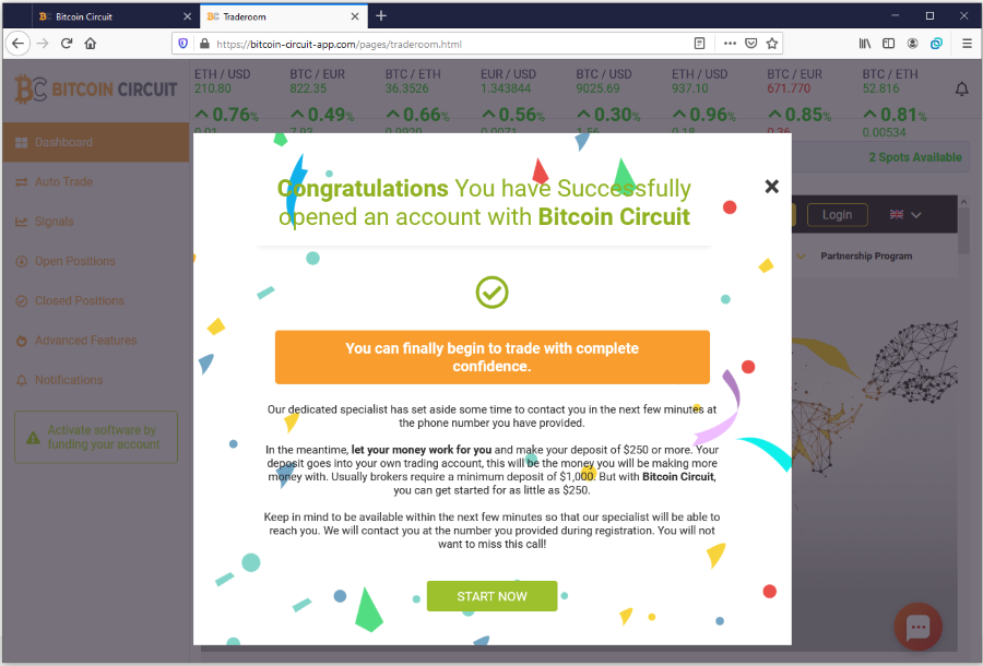 Bitcoin Circuit Fake Trading App